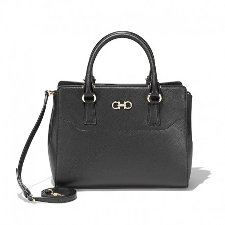 Ferragamo - Womens - Small Double Gancio Tote (Black 616512)