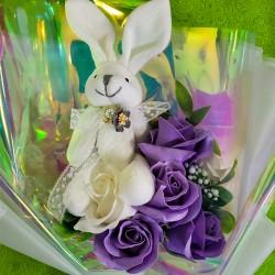 ソープフラワー・うさぎ花束ボックス(紫)