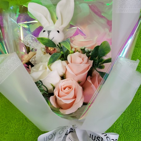 Soap Flower Bunny Bouquet Box (Pink)