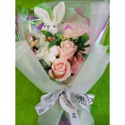 ソープフラワー・うさぎ花束ボックス(ピンク)