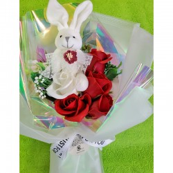 Soap Flower Bunny Bouquet Box (Red)