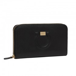 Ferragamo - Womens - Gancini Zip Around Wallet (Black 683623)