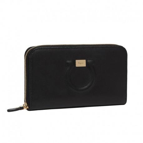 Ferragamo - Womens - Gancini Zip Around Wallet (Black 683623)